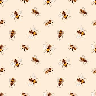 Elegantes nahtloses muster mit honigbienen auf hellem hintergrund.