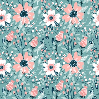 Elegantes nahtloses muster mit rosa hunderosenblüten, knospen und zweigen., flache hand gezeichnete verzierungsillustration.