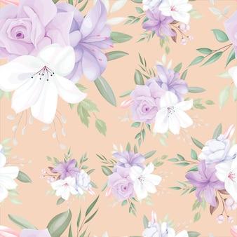 Elegantes nahtloses muster mit schönen weißen und lila blüten und blättern