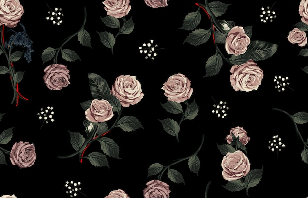 Elegantes nahtloses muster von erröten getonten rustikalen rosen