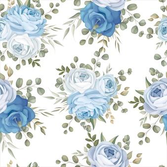 Elegantes nahtloses musterdesign blau floral
