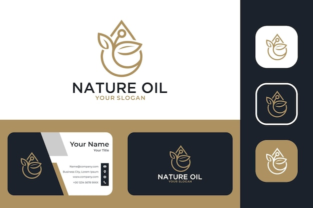 Elegantes naturöl mit blattlogo-design und visitenkarte