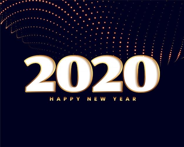 Elegantes neues jahr 2020 mit goldener partikelwelle