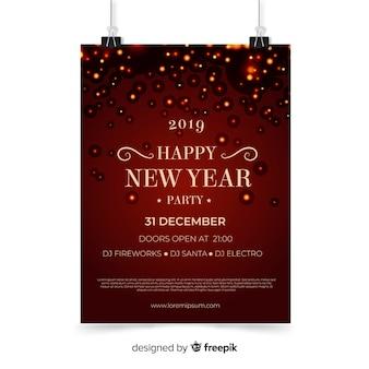 Elegantes neujahrsplakat mit realistischem design
