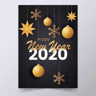 Elegantes plakat des neuen jahres 2020 mit hängenden dekorationen