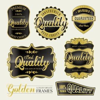 Elegantes premium-set mit goldenen qualitätsetiketten