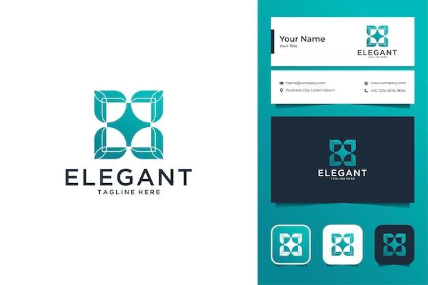 Elegantes quadratisches logo-design und visitenkarte