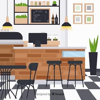 Elegantes restaurant interieur mit flachem design