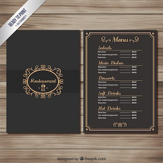Elegantes restaurant-menü