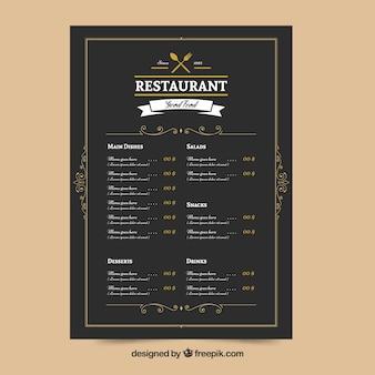 Elegantes restaurant menü