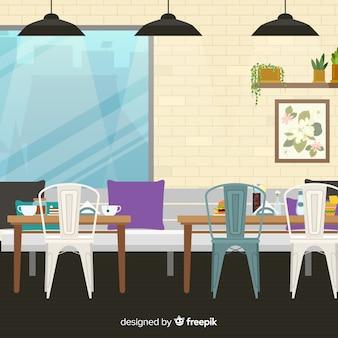 Elegantes restaurant mit flachem design