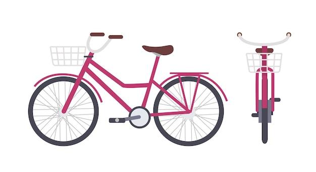 Elegantes rosa stadtfahrrad oder stadtfahrrad mit durchstiegsrahmen und vorderem korb lokalisiert auf weiß