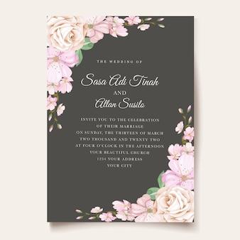 Elegantes rosenhochzeitseinladungsthema