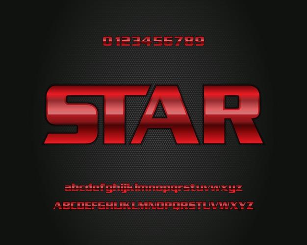 Elegantes rot färbte metallstarken mutigen art-effektalphabet-gusssatz des modernen textes 3d