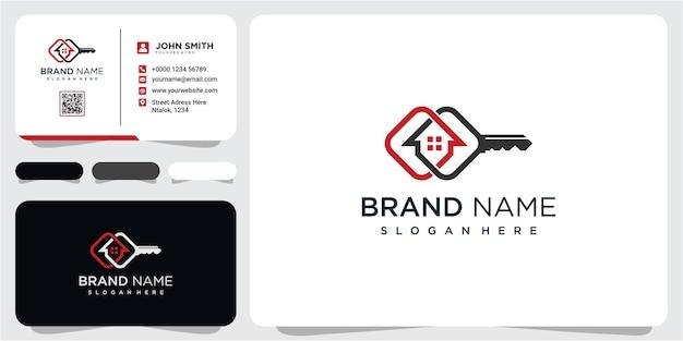 Elegantes schlüsselhaus-logo-design, immobilien-logo-symbol-symbol-design mit visitenkarte