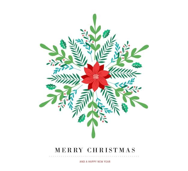 Elegantes schneeflockenplakat, winterikone, frohe weihnachtsgrußkarte