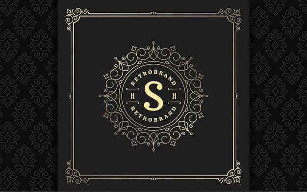 Elegantes schnörkel des weinlese-monogramm-logos linienkunst anmutige verzierungen viktorianischen artvektorschablonendesign