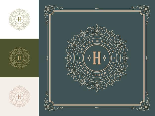 Elegantes schnörkel des weinlese-monogramm-logos linienkunst anmutige verzierungen viktorianischen stilschablone.