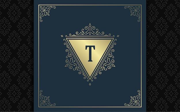 Elegantes schnörkel des weinlese-monogramm-logos ziert viktorianischen stilschablonenentwurf anmutige verzierungen