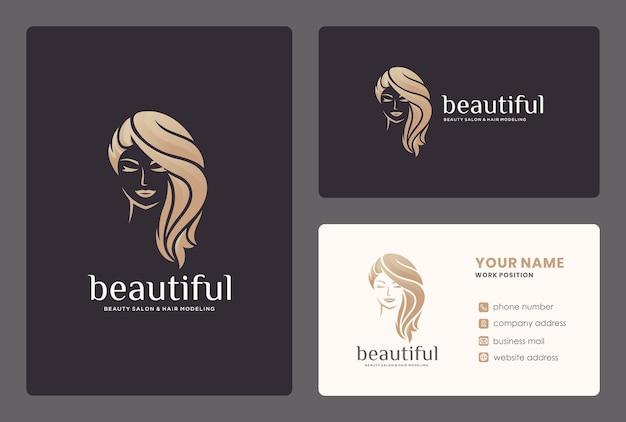 Elegantes schönheitsfrauen- / haarstyke-logoentwurf mit visitenkartenschablone.