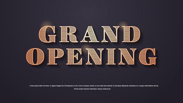 Elegantes schriftzugplakat oder bannerdekoration der großen eröffnung für offenen zeremonienkopierraum