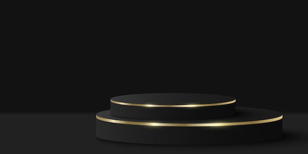 Elegantes schwarz-goldenes podium für die präsentation ihres produkts. 3d-zylinder auf schwarzem hintergrund. luxuriöse plattform oder minimale bühne. mockup für modepräsentation. vektor