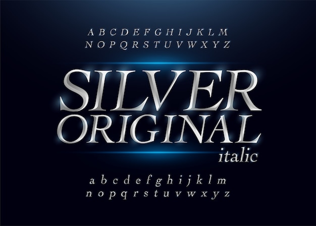 Elegantes silberfarbenes metall-chrom alphabet kursiv schrift
