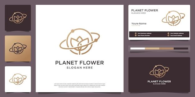 Elegantes symbol des blumenplaneten für blumenladen, schönheit, spa, hautpflege, salon und visitenkarte