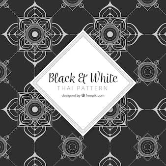 Elegantes thailändisches schwarzweiss-muster