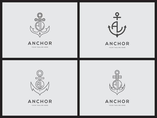Elegantes trendiges künstlerisches logo symbol anker logo set design