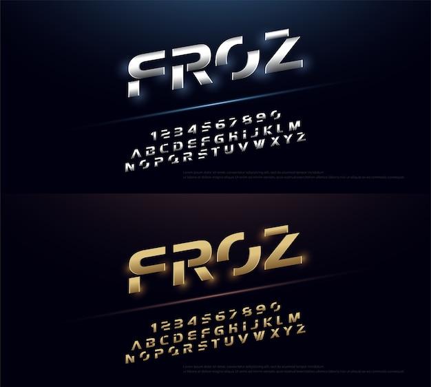 Elegantes typografie-silber und goldenes metallalphabet