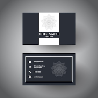 Elegantes visitenkarten-design mit mandala-design