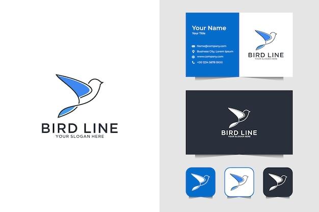 Elegantes vogellinienkunstlogodesign und visitenkarte