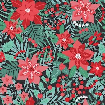 Elegantes weihnachtsfest nahtloses muster mit grünen und roten traditionellen feiertagsnaturdekorationen - blumen, beeren, blätter, tannennadeln