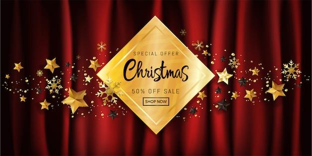 Elegantes weihnachtskalligraphisches design für verkaufsplakatförderung auf goldkasten auf rotem hintergrund.