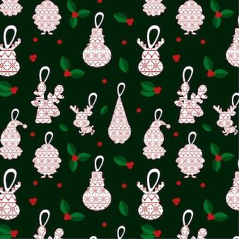 Elegantes weihnachtsmuster mit weihnachtsmotiven