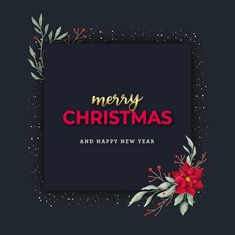 Elegantes weihnachtsquadratbanner mit aquarellblume und beeren