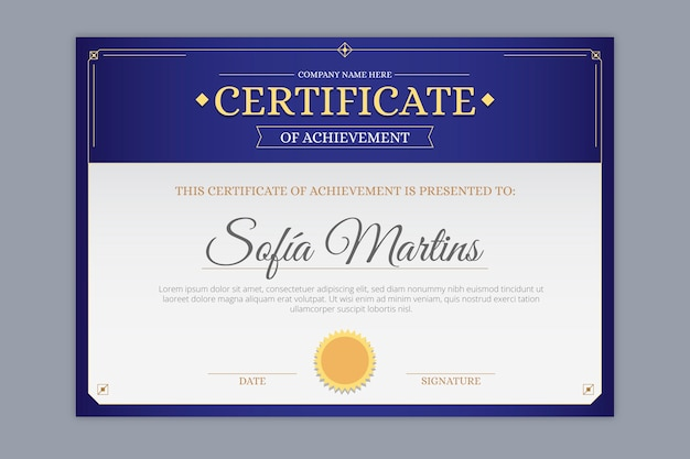 Elegantes zertifikat-award-template-design