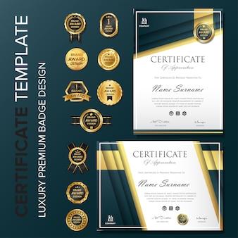 Elegantes zertifikat design mit abzeichen