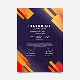 Elegantes zertifikat für farbverlaufsdesign