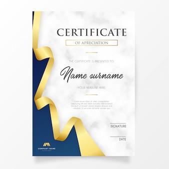 Elegantes zertifikat mit goldenem band