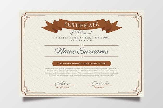 Elegantes zertifikat mit goldenen elementen