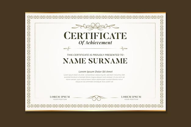 Elegantes zertifikat mit ornamentrahmen