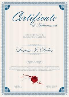 Elegantes zertifikat oder retro vintage-design