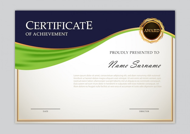 Elegantes zertifikat-template-design