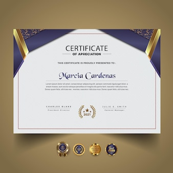 Elegantes zertifikatsvorlagendesign mit farbverlauf