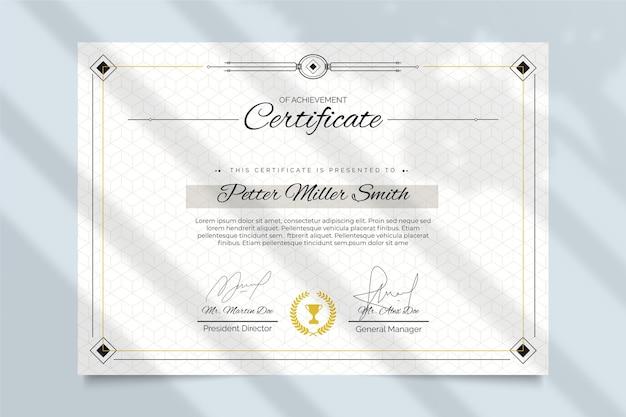 Elegantes zertifikatvorlagenkonzept