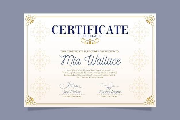 Elegantes zertifikatvorlagenthema
