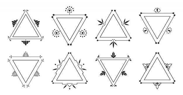 Elegantes zierset des tricornrahmens. grafische trigonale weinlesegrenze.