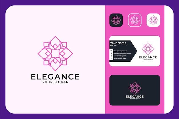 Eleganz blumengeometrie logo-design und visitenkarte